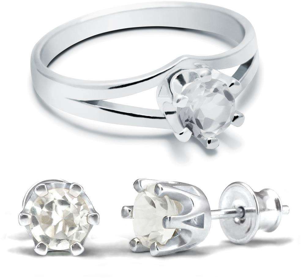 Kuźnia Srebra - Komplet Pierścionek + Kolczyki - Kryształ, model