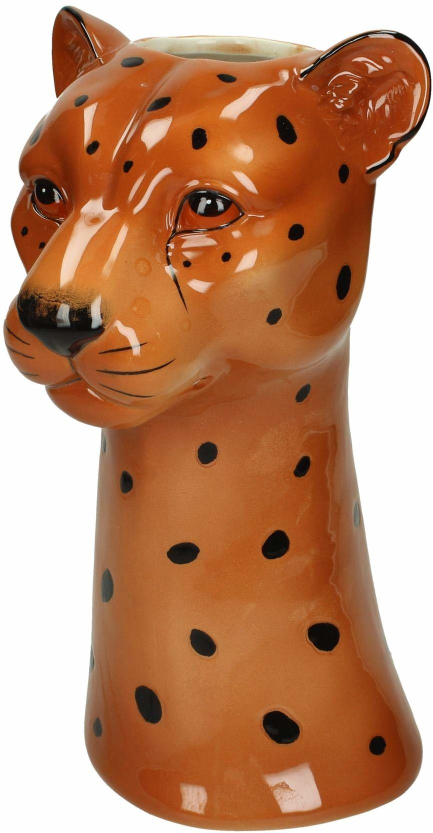 Wazon Leopard - Feiner Steingut - Brązowy - 15x17,5x29,5cm
