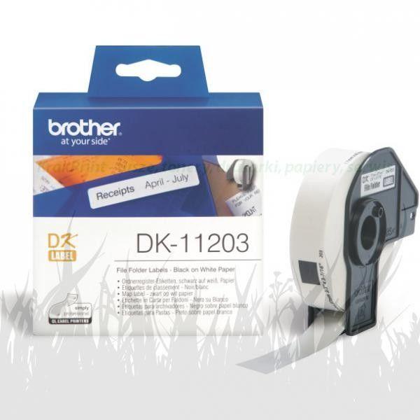 Brother DK-11203 białe etykiety papierowe 17 x 87 mm 300 szt, oryginalne
