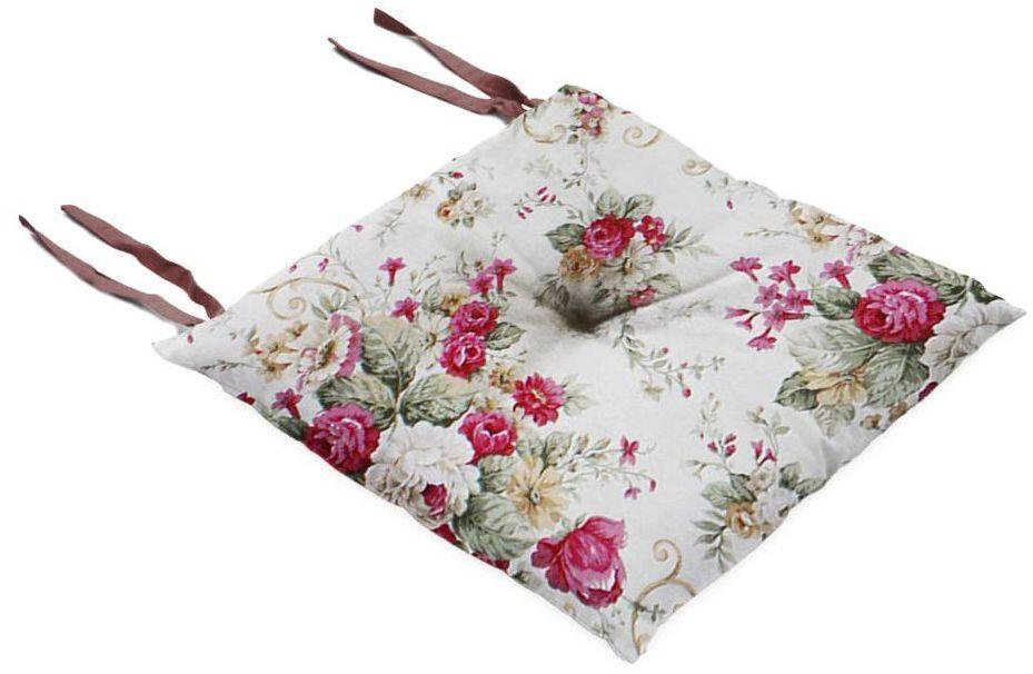 Poduszka na krzesło Silla Blumen bordowa 40 x 40 x 8 cm