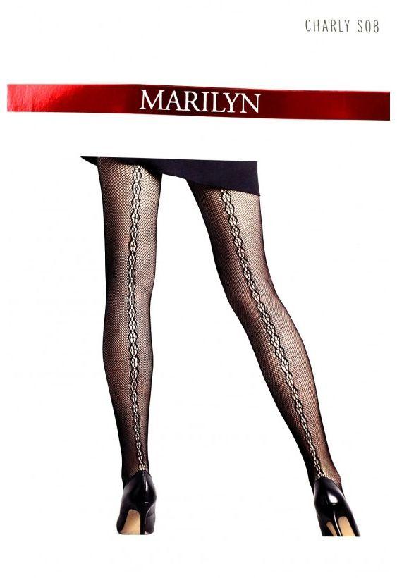 Charly s08 marilyn - rajstopy kabaretki ze szwem ozdobnym z tyłu