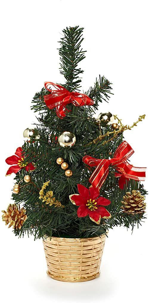 HEITMANN DECO dekorowana choinka - mała sztuczna choinka z biżuterią - złoty, zielony, czerwony - drzewo z tworzywa sztucznego