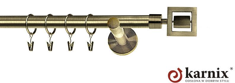 Karnisz nowoczesny NEO pojedynczy 16mm Apollo antyk mosiądz