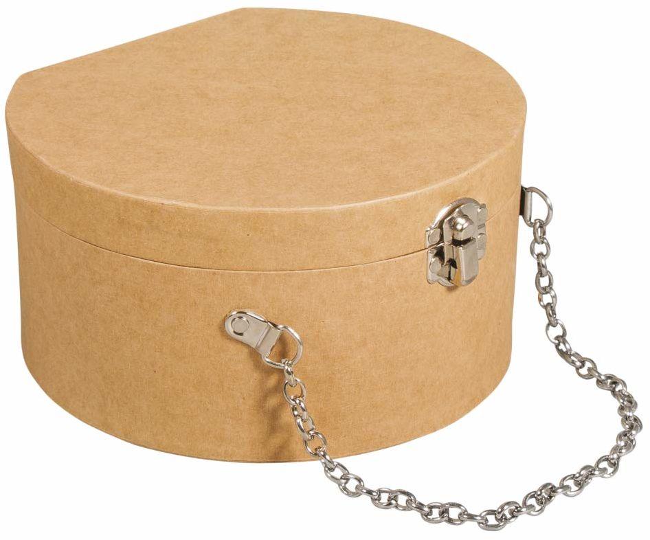 Rayher 67282521 walizka z masy papierowej, okrągła, 16,5 x 15,5 x 8,5 cm, z zamknięciem i metalowym łańcuszkiem, certyfikat FSC, mała walizka z masy papierowej