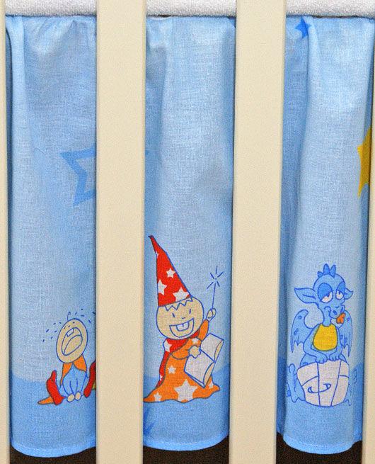 MAMO-TATO Falbanka do łóżeczka 70x14- Zamek błękitny