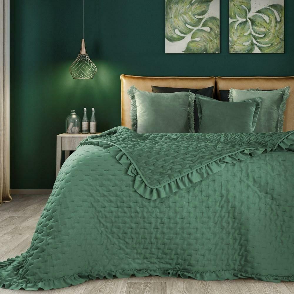 Narzuta dekoracyjna 170x210 Libi falbanka zielona Eurofirany