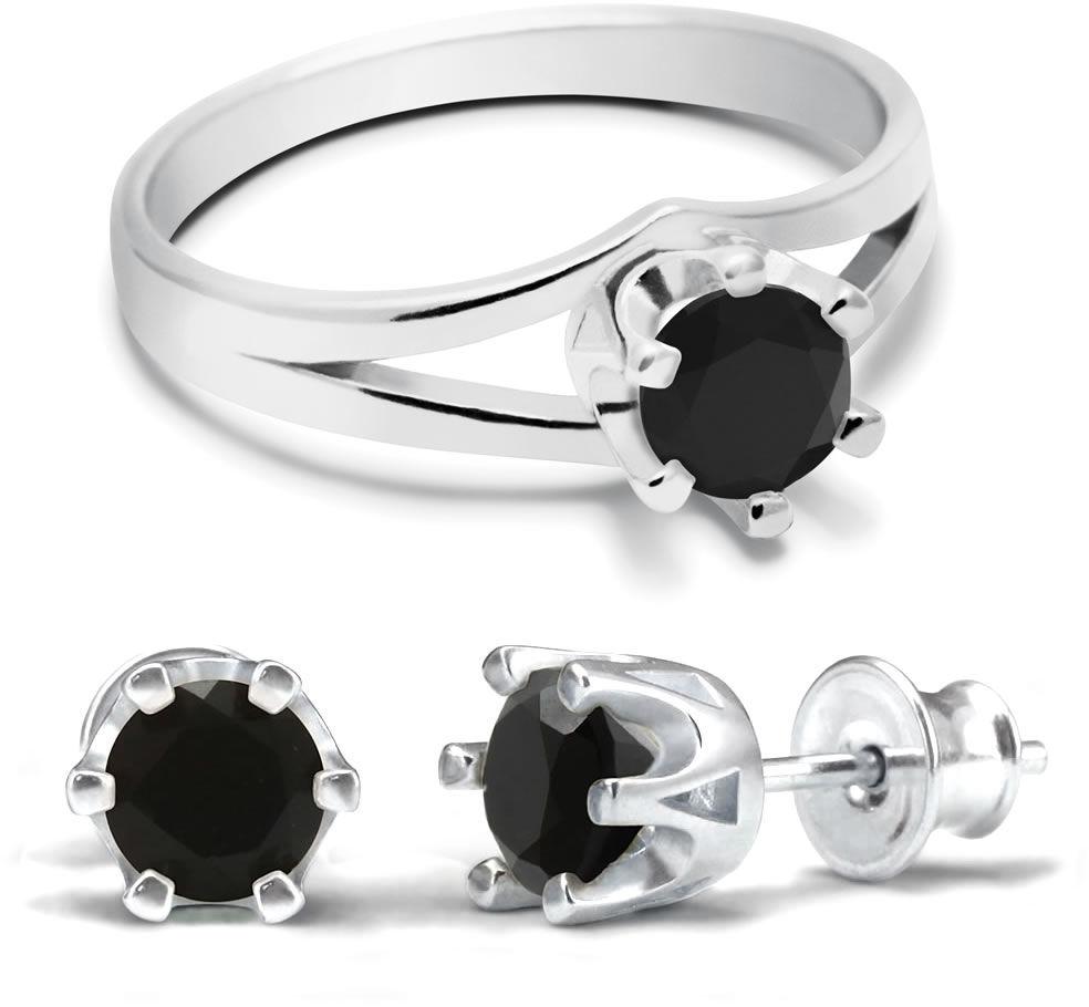 Kuźnia Srebra - Komplet Pierścionek + Kolczyki - Onyks, model