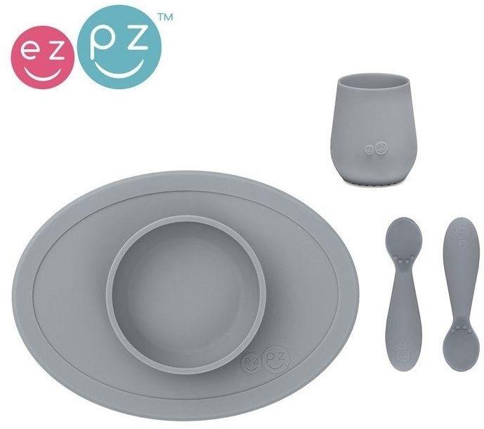 EZPZ Komplet pierwszych naczyń silikonowych First Foods Set szary