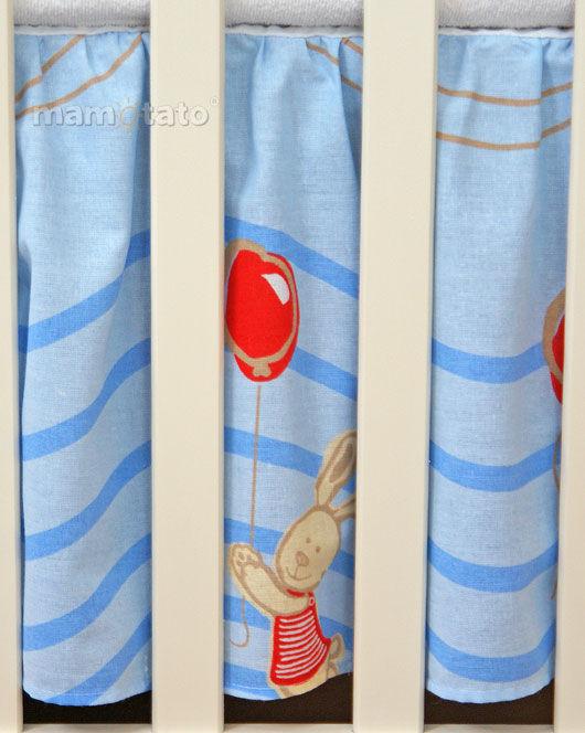 MAMO-TATO Falbanka do łóżeczka 70x140 Przyjaciele w błękicie