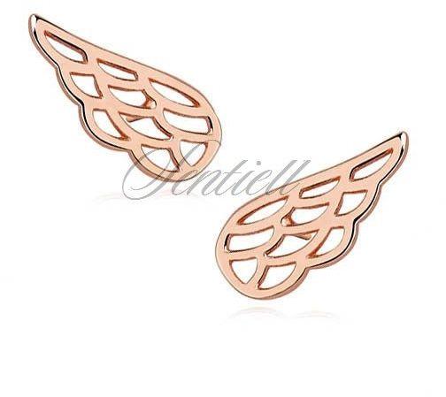 Srebrne (925) kolczyki skrzydła, różowe złoto - różowe złoto