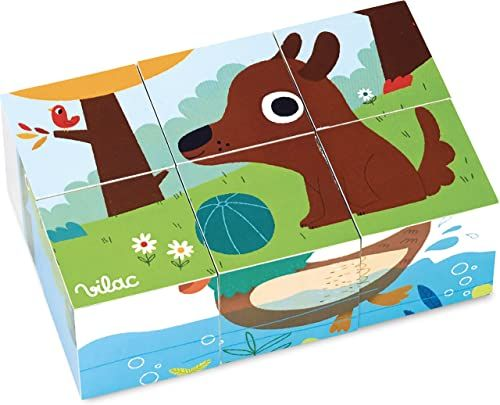 Vilac Vilac7901 Gallimard zwierzęta drewniane klocki, wielokolorowe