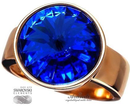 SWAROVSKI pierścionek SAPPHIRE RÓŻOWE ZŁOTO SREBRO