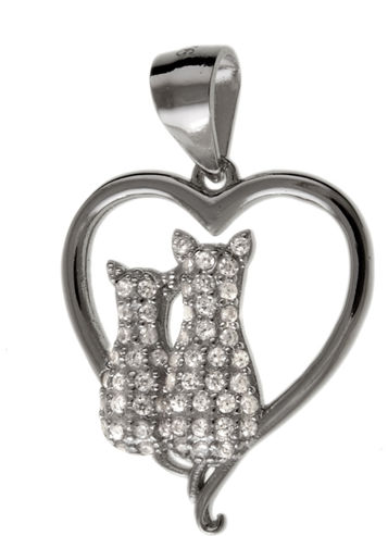Rodowany srebrny wisior wisiorek serce serduszko kotki cats białe cyrkonie srebro 925 W0354