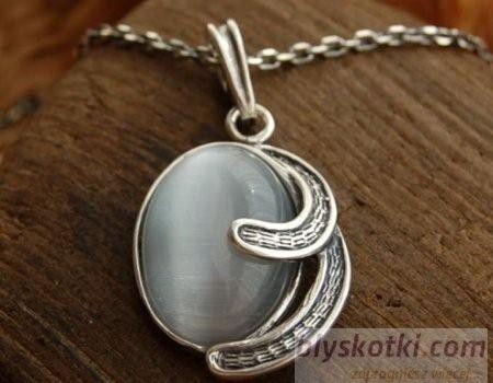 Baneza - srebrny wisiorek z kocim okiem