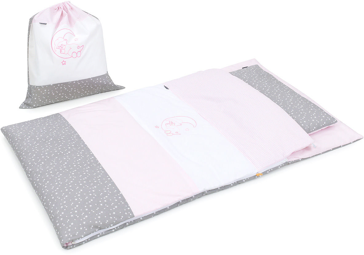 Pościel śpiwór dla przedszkolaka / do przedszkola na leżak + worek - Róż / popiel
