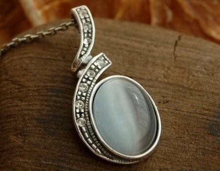 Ponti - srebrny wisiorek z kocim okiem ii kryształami