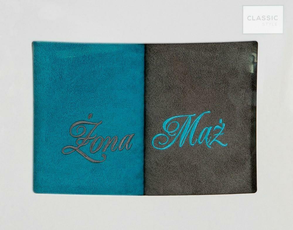 Komplet ręczników w pudełku 2 szt 70x140 Mąż Żona stalowy turkusowy 360g/m2 Eurofirany