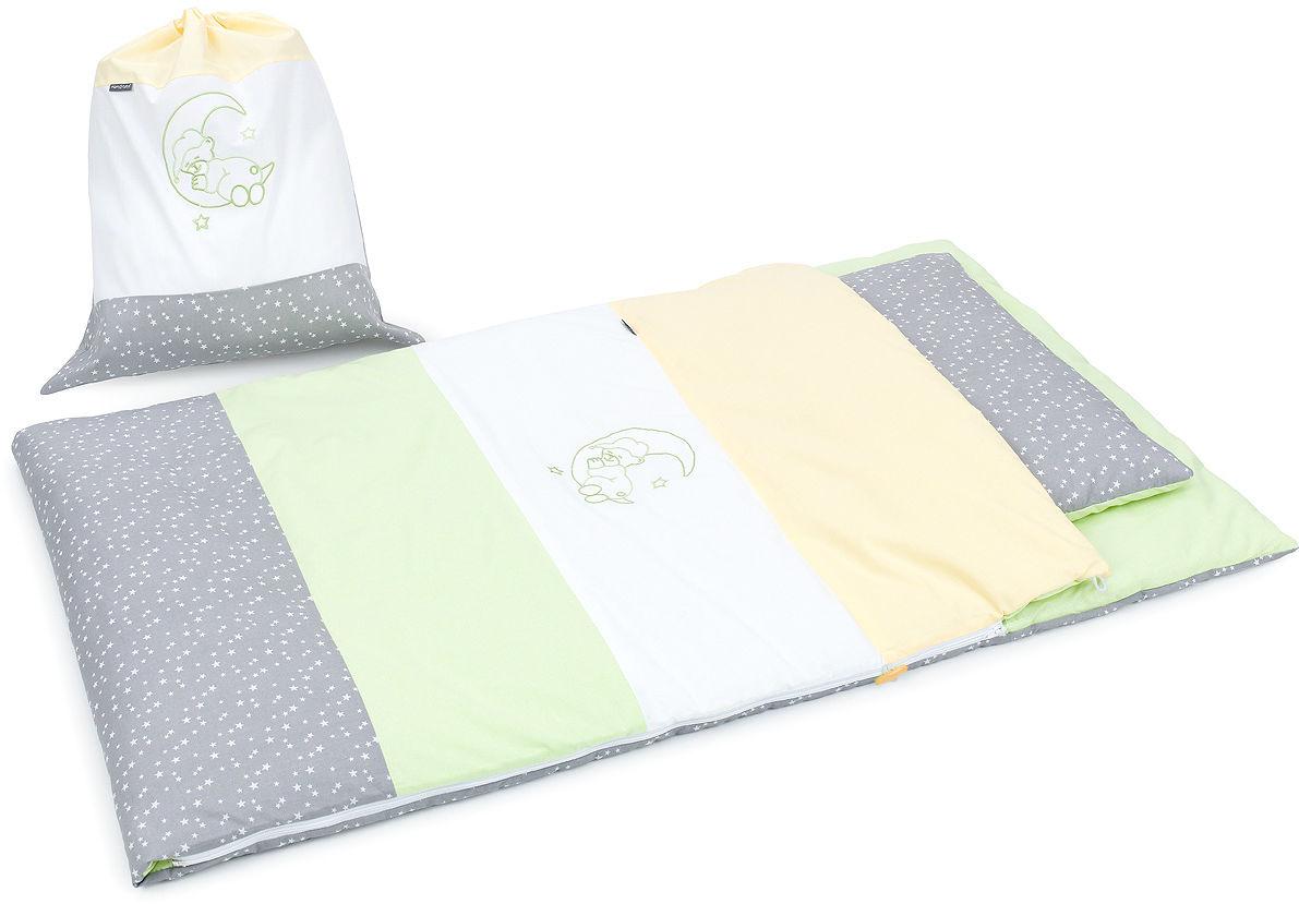 Pościel śpiwór dla przedszkolaka / do przedszkola na leżak + worek - Zielony / popiel