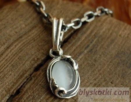 Juna - srebrny wisiorek z kocim okiem