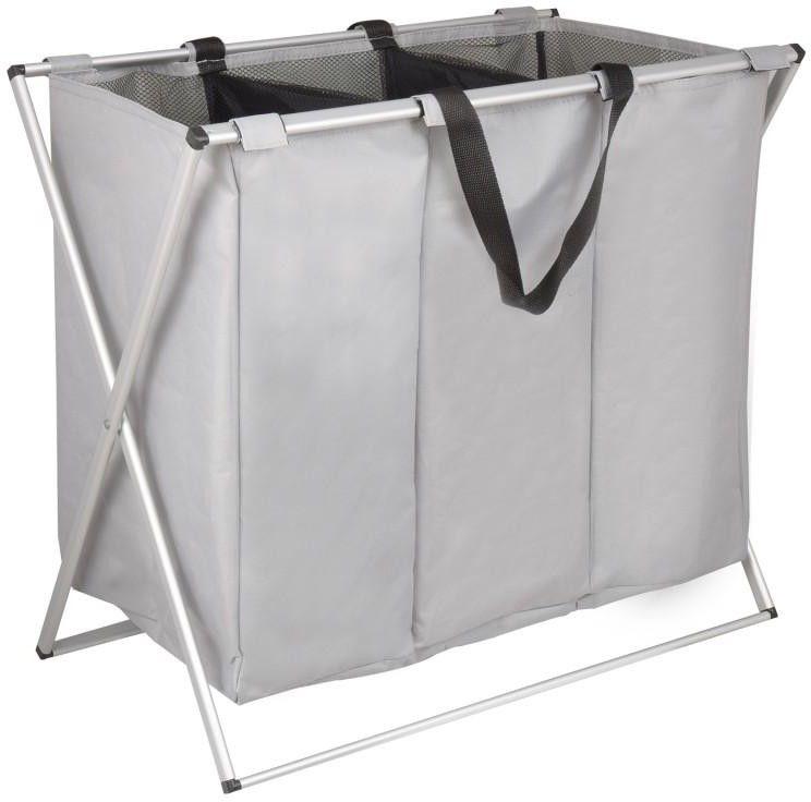 Kosz na pranie bieliznę składany szary 3 komory - Yoka