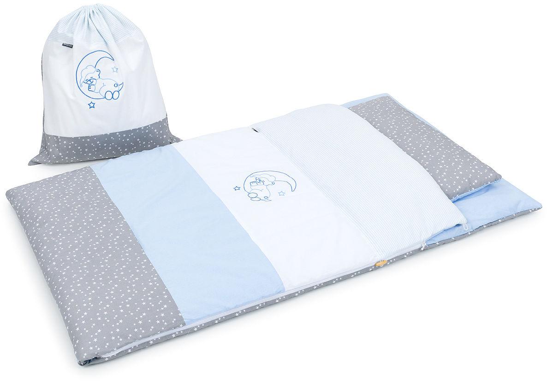 Pościel śpiwór dla przedszkolaka / do przedszkola na leżak + worek - Błękit / popiel