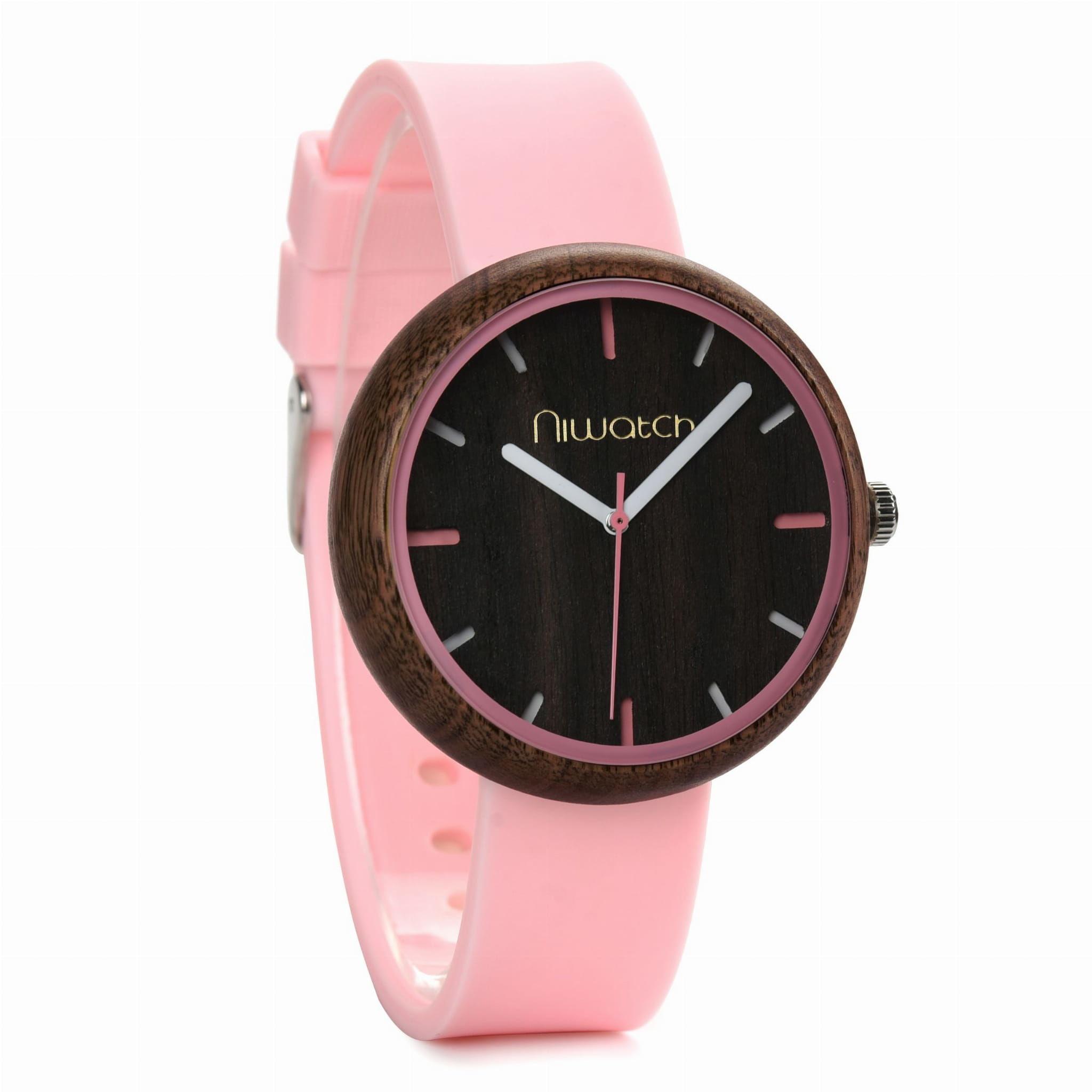 Damski zegarek drewniany Niwatch - kolekcja ACTIVE - pudrowy róż