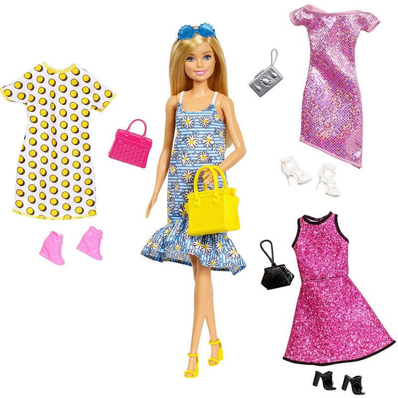 Barbie Fashion Doll + 3 ubranka GDJ40