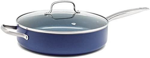 Blue Diamond Skillet with Lid, Non Stick Aluminium Pan - Induction & Oven Safe Cookware - 28 cm, Blue