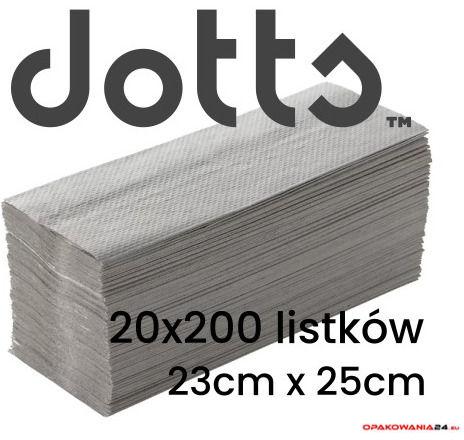 Ręczniki składane ZZ makulaturowe, szare, ekonomiczne DOTTS, 4000 listków,