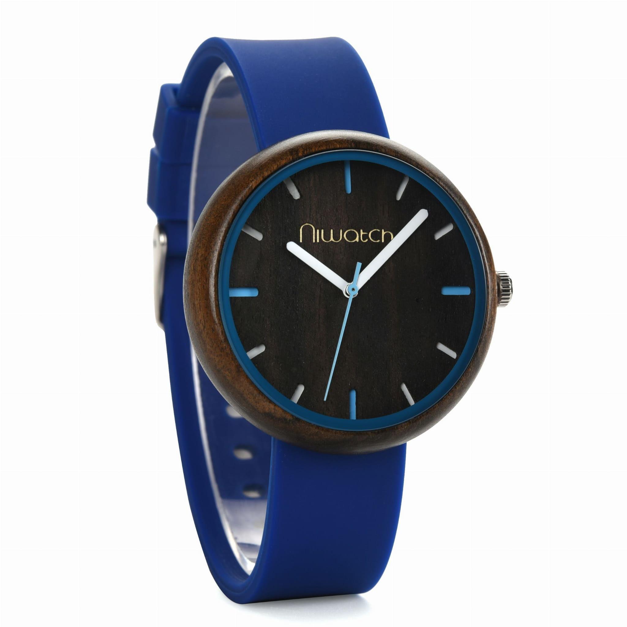 Damski zegarek drewniany Niwatch - kolekcja ACTIVE - niebieski