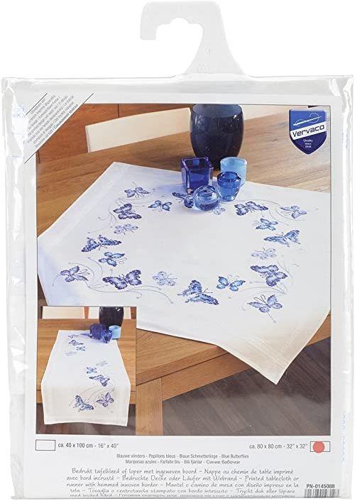 Vervaco Haft: Obrus: Niebieskie motyle, 100% bawełna, wielokolorowy, 40 x 2 x 20 cm