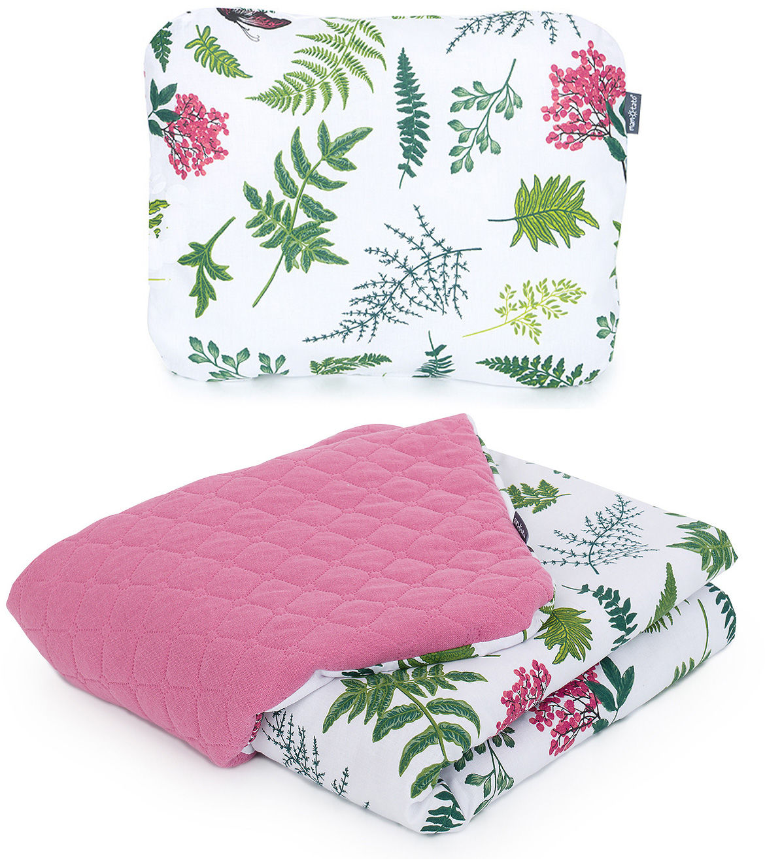 MAMO-TATO KOMPLET Kocyk dla dzieci i niemowląt 75x100 - MUŚLIN PIK + poduszka - Premium - Paprotki / turmalin - ocieplony