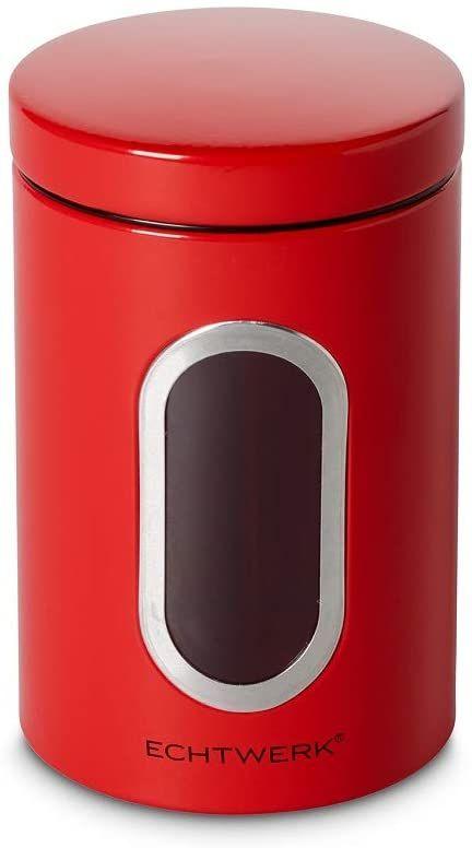 Echtwerk Stylowe pojemniki na zapasy Single-Rot, do przechowywania mąki/cukru/musli/herbaty, metalowa puszka z hermetyczną pokrywką i dużym okienkiem, pojemność 1,4 l