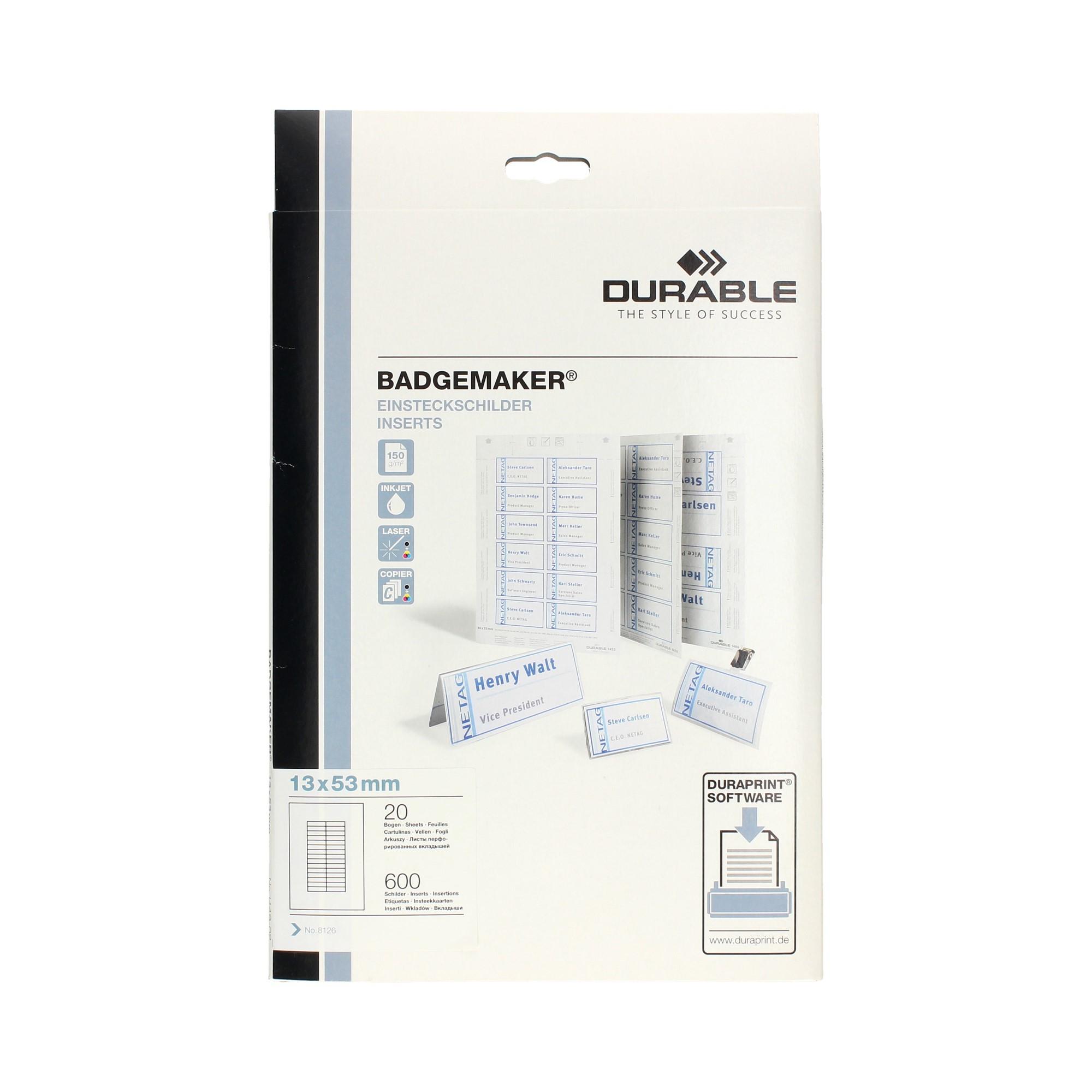 Wkłady do identyfikatorów 13x53 Smart Clip białe Durable