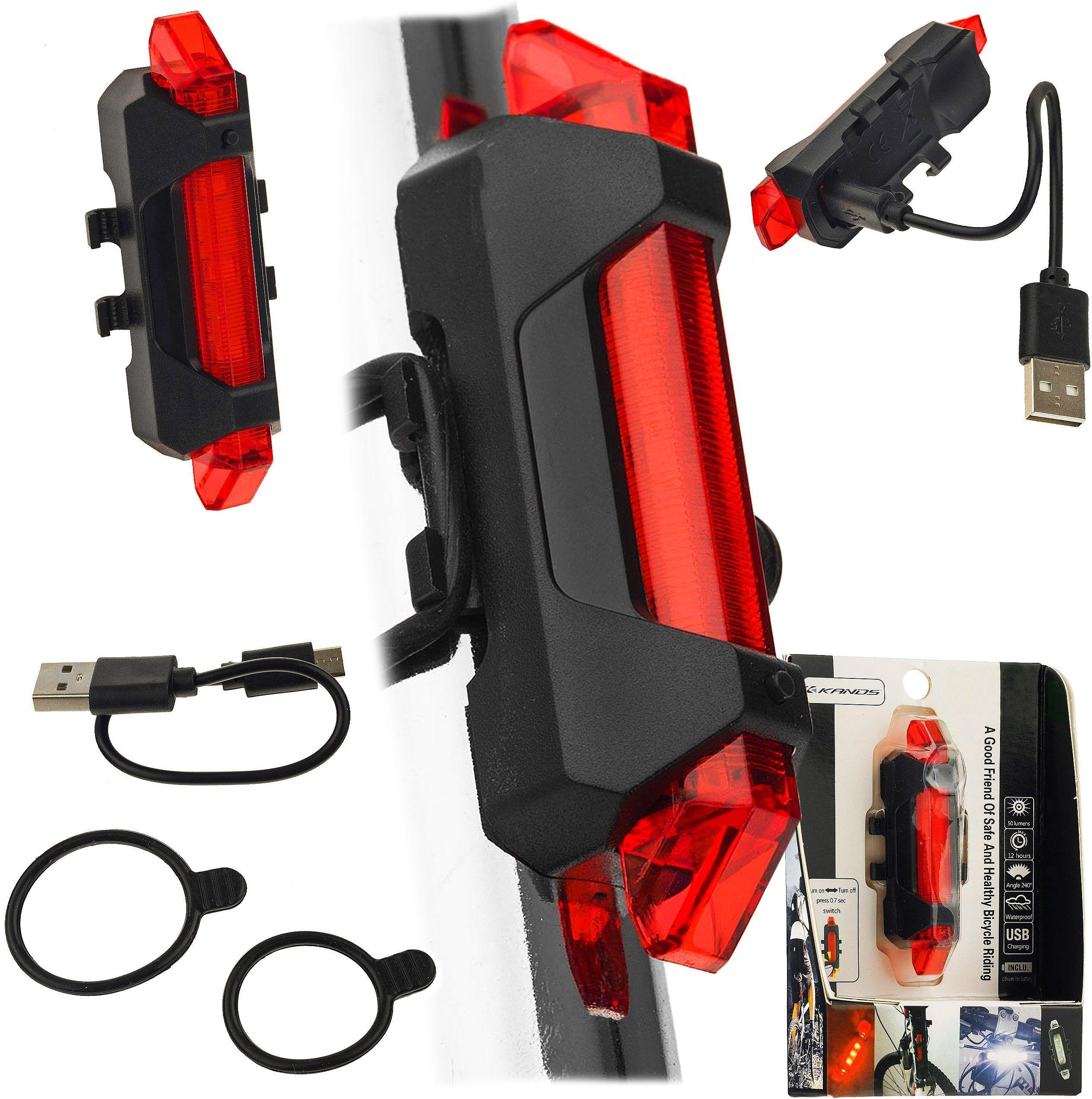 Lampa tylna akumulator USB, 5 led, czerwona