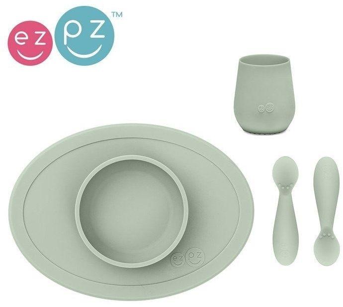 Komplet pierwszych naczyń silikonowych First Foods Set pastelowa zieleń, EZPZ