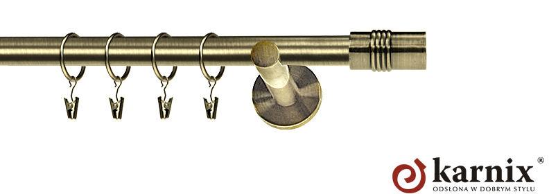 Karnisz nowoczesny NEO pojedynczy 16mm Cylinder antyk mosiądz