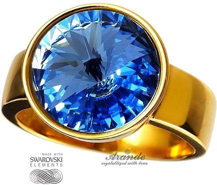 SWAROVSKI piękny pierścionek SAPPHIRE ZŁOTE SREBRO