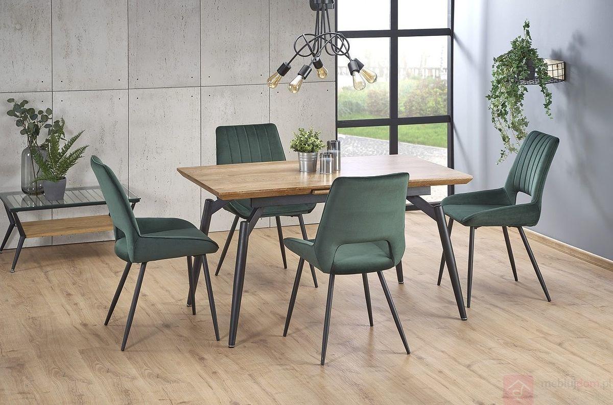 KUPON 10% NA STRONIE  Stół rozkładany CAMBELL Halmar 80x140-180 cm, Dąb naturalny + czarny