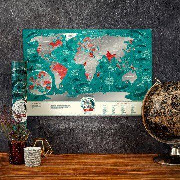 MAPA ZDRAPKA ŚWIAT Travel Map  Marine World