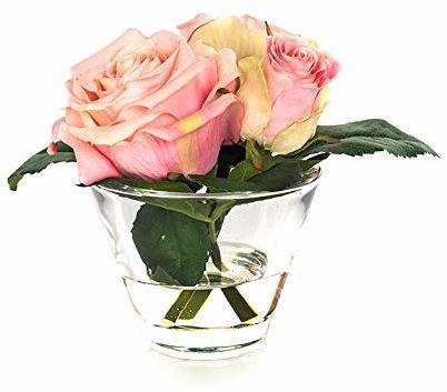 EUROCINSA Ref.87668C21 szafka z 3 różami w kolorze różowym, pudełko z 4 sztukami, tworzywo sztuczne, szkło, 16 x 15 cm