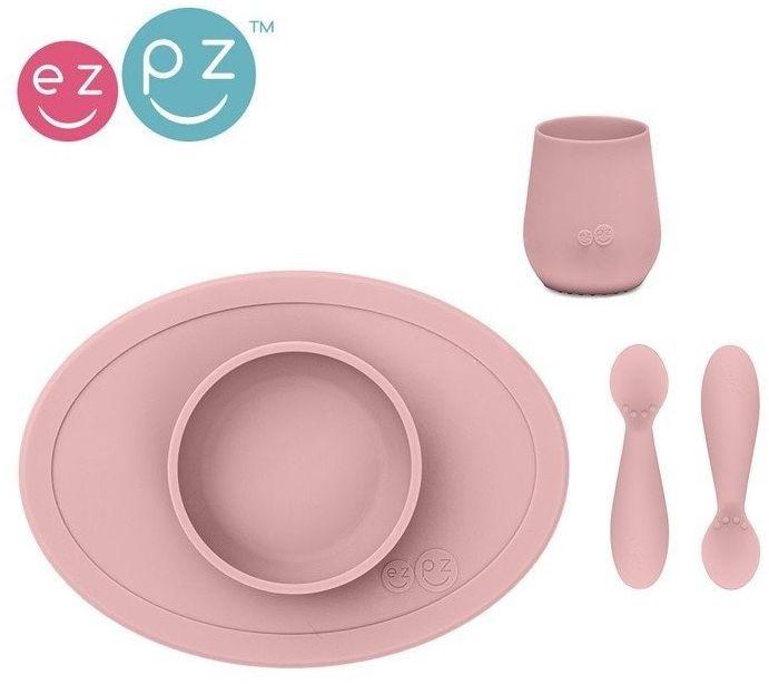 Komplet pierwszych naczyń silikonowych First Foods Set pastelowy róż, EZPZ