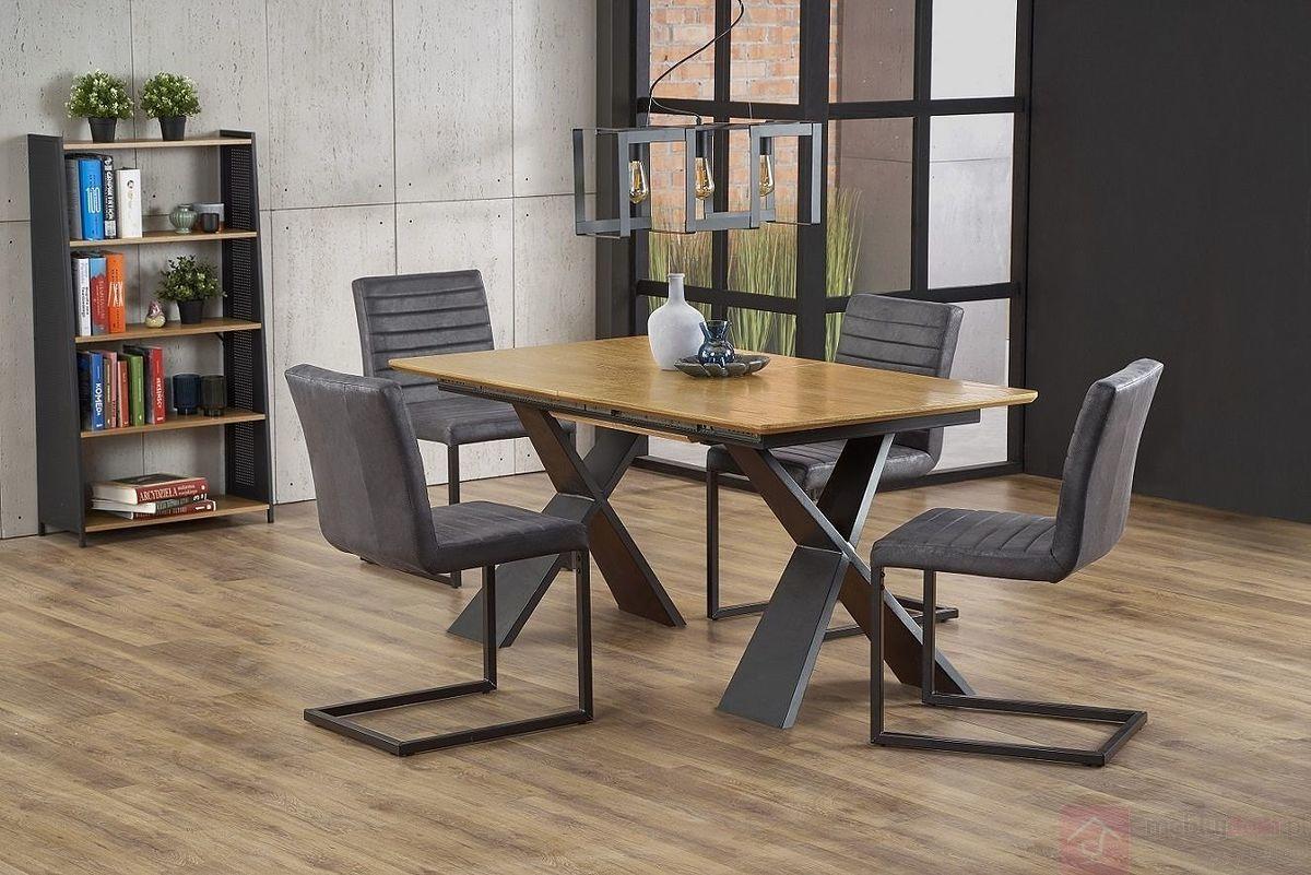 KUPON 10% NA STRONIE  Stół rozkładany CHANDLER Halmar 90x160-220 cm, Dąb naturalny + czarny [Wysyłka 2020-08-04]