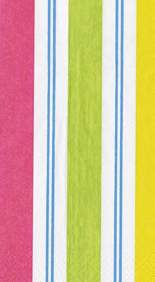 Entertaining with Caspari markiza w paski papierowe ręczniki dla gości, 15 sztuk, wielokolorowe, 11 x 20 x 3 cm