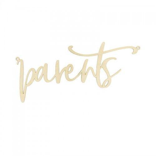 Zawieszka, dekoracja na krzesło weselne dla rodziców z naturalnego drewna