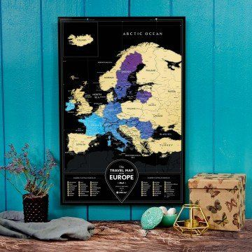 MAPA ZDRAPKA EUROPA Travel Map  Black Europe