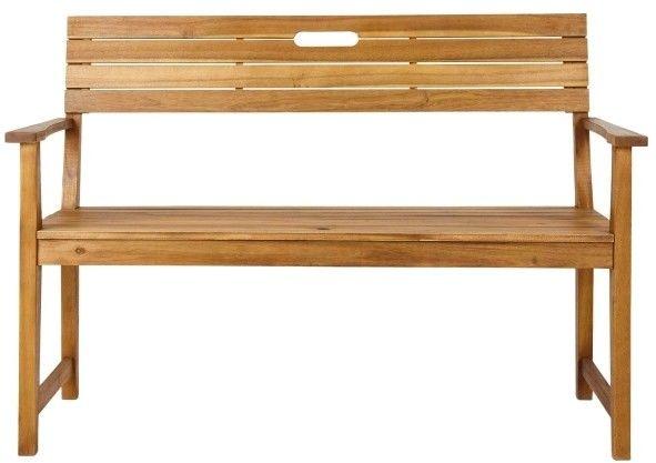 Ławka z oparciem GoodHome Denia 128,5 x 57 x 89,7 cm akacja