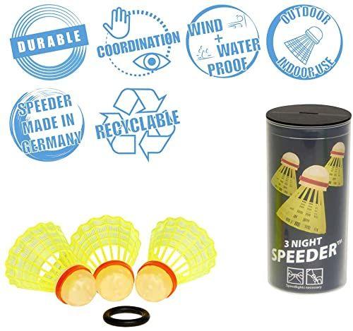 Speedminton NIGHT Speeder  zestaw 3 świecących piłek do badmintona/crossmintona, w zestawie z pierścieniem wentylacyjnym
