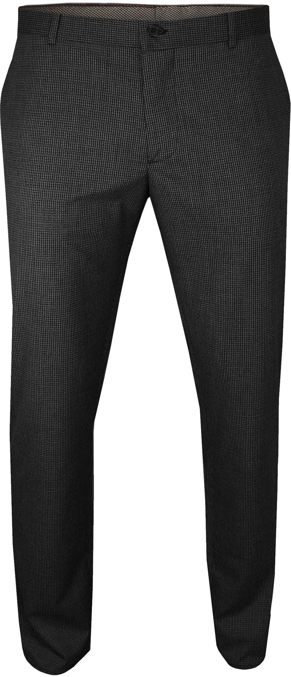 Czarne Eleganckie Casualowe Spodnie Męskie -RIGON- Zwężane, Chinosy, w Drobną Pepitkę, Cienkie SPRGNpepitka06czarne