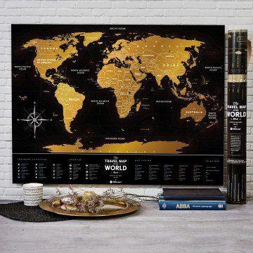 MAPA ZDRAPKA ŚWIAT Travel Map  Black World